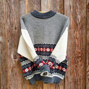 Esprit Vintage Wool Blend Crew Neck Fair Isle Sweater Checker